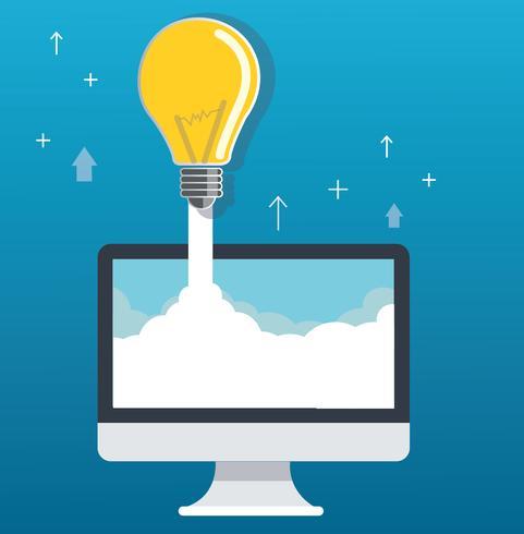 ampoule sur nuage et illustration de concept de démarrage d'ordinateur vecteur