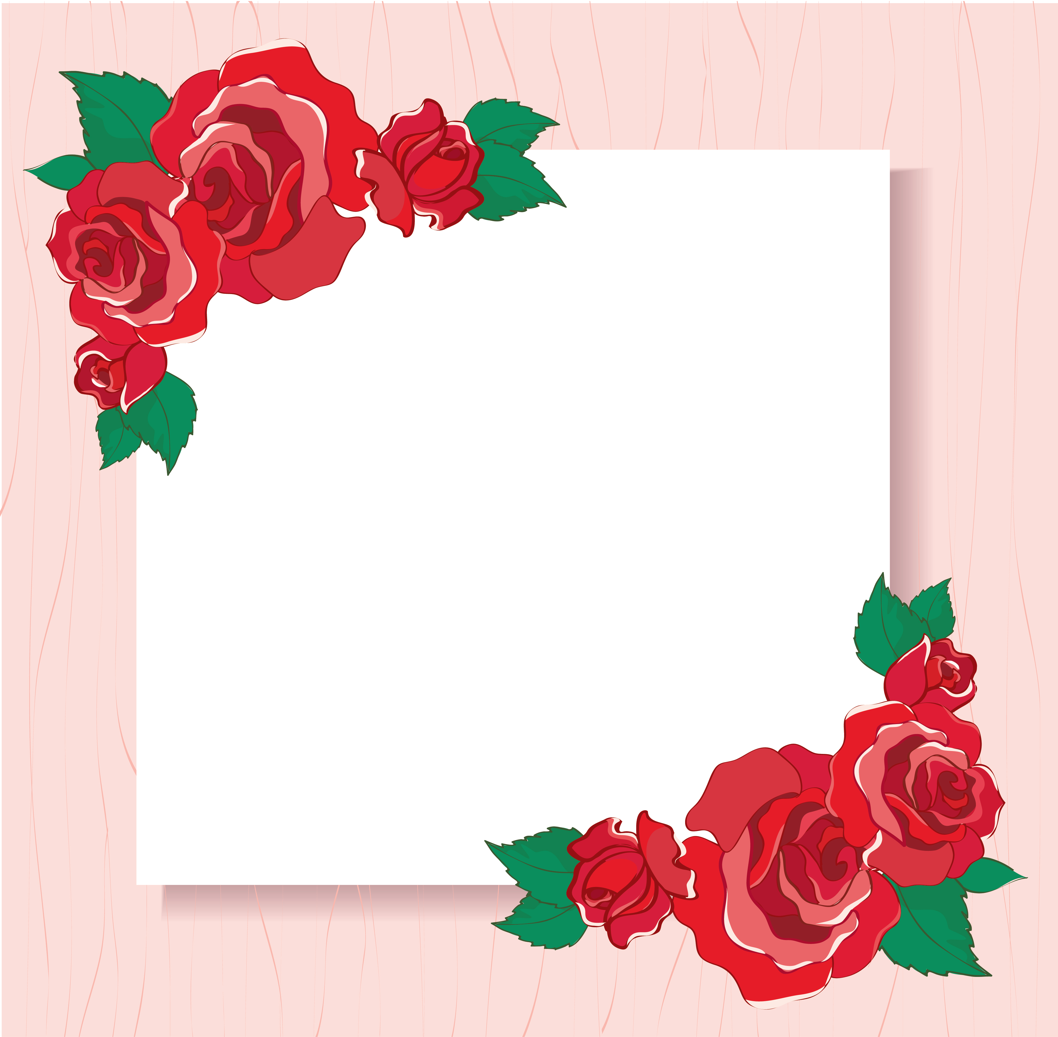 valentines greeting card with red roses background vector