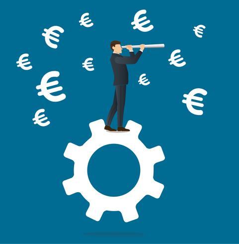empresário parece através de um telescópio em pé no ícone de engrenagem e ícone Euro fundo