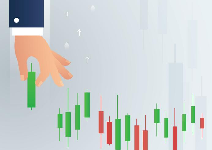 hand holding a candlestick chart stock market icon vector