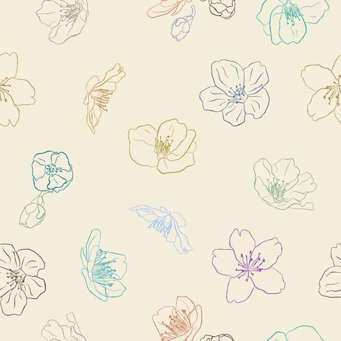 Schizzo a mano seamless pattern Sakura. vettore