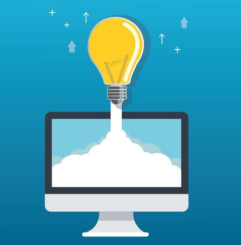 lampadina su cloud e illustrazione di concetto di avvio del computer vettore