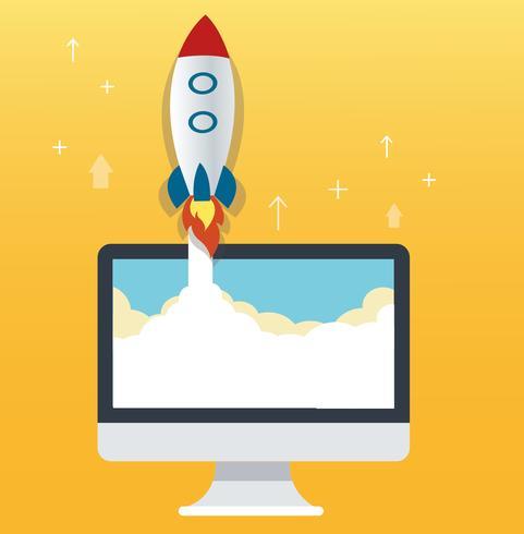 l'icona di razzo e computer sfondo giallo, illustrazione di concetto di business startup vettore