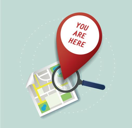the magnifying glass and pin location icon and map vector, the concept of travel  vector