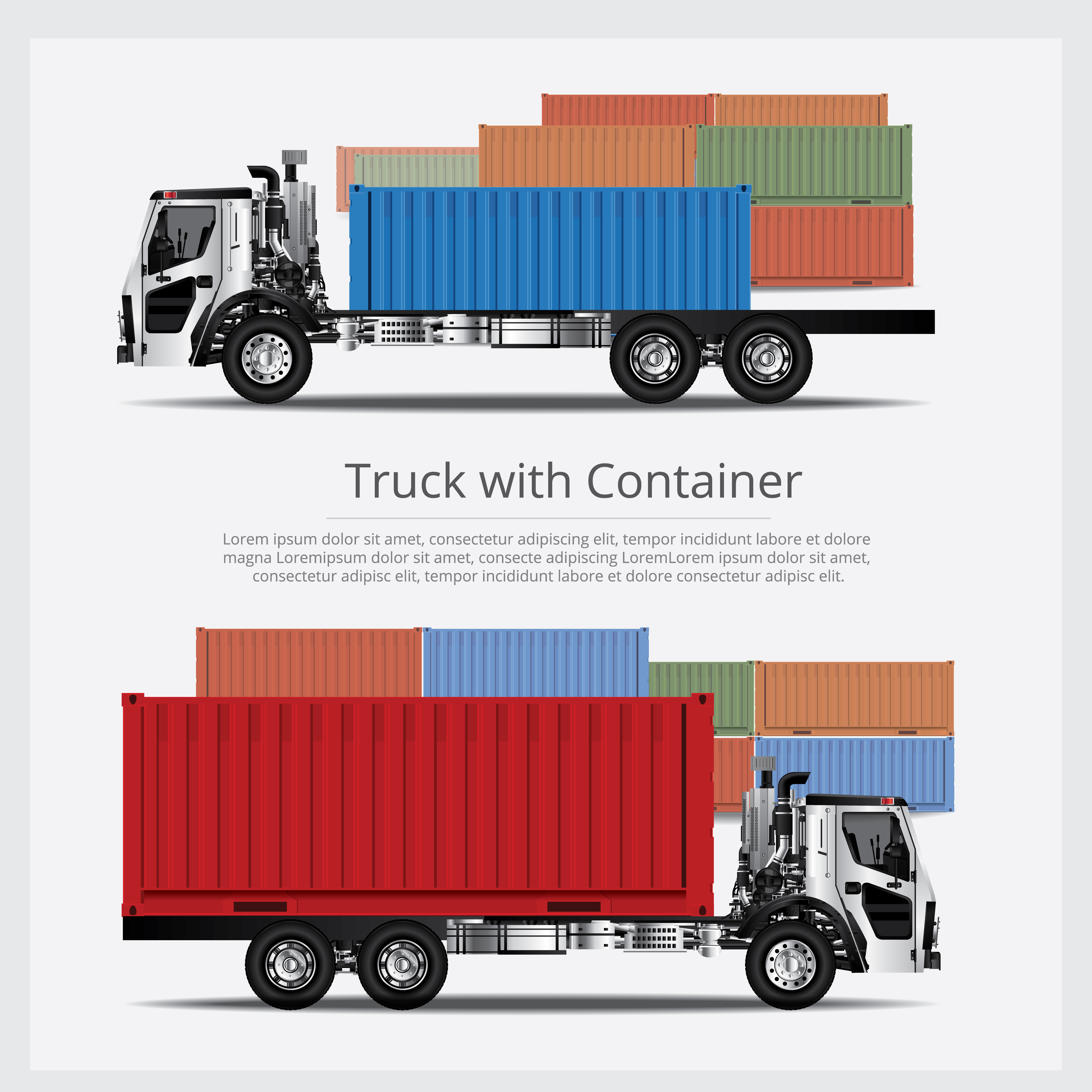 Cargo Trucks Transportation with Container isolated Vector ...