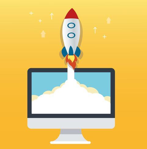raket ikonen och dator gul bakgrund, uppstart affärsidé illustration