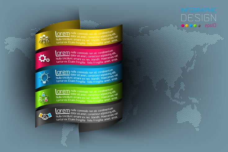 Business infographic with 5 steps. vector