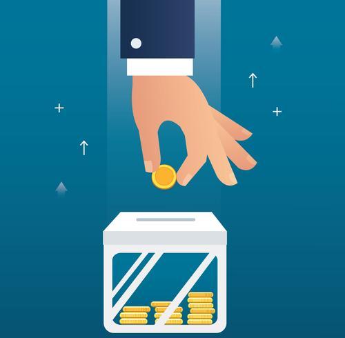 hand met munt concept van het maken van geld voor zaken en financiën vector
