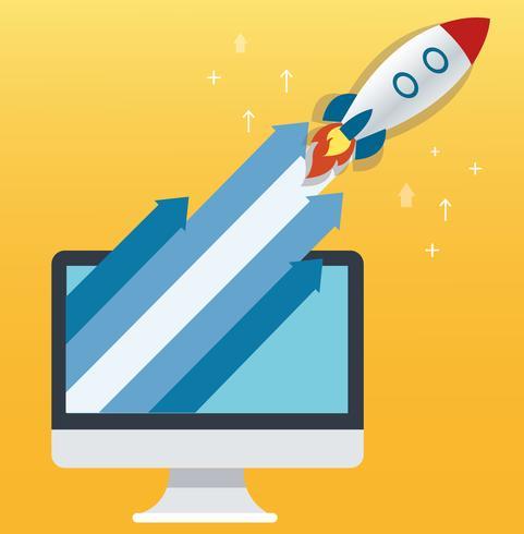 l'icona di razzo e computer sfondo giallo, illustrazione di concetto di business startup