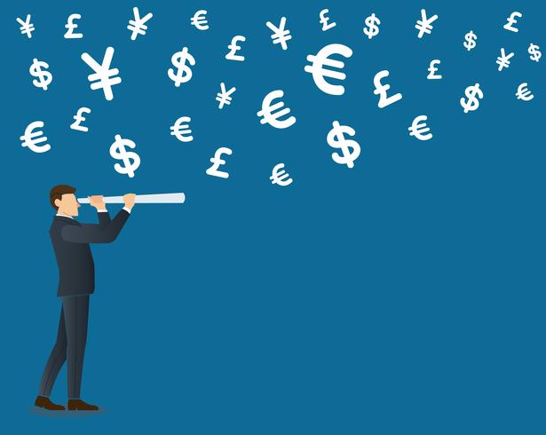 businessman looks through a telescope and money symbol icon background vector