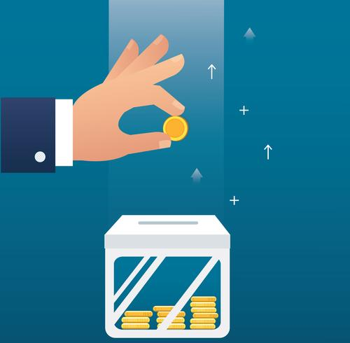 hand holding coin concept of making money for business and finance