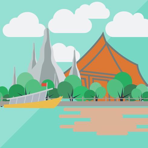 Tempio dell'alba, Tailandia con design piatto vettore