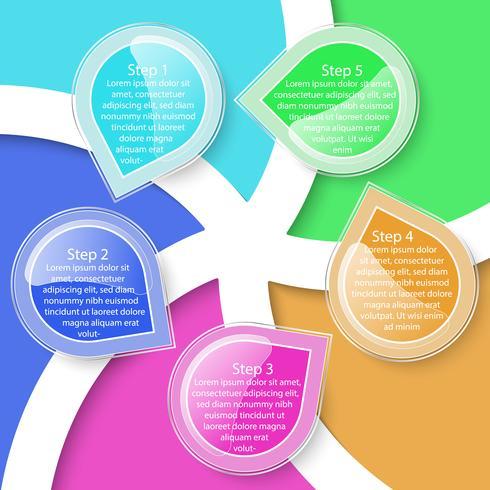 Infographie de transparence coloré cinq étiquettes. vecteur