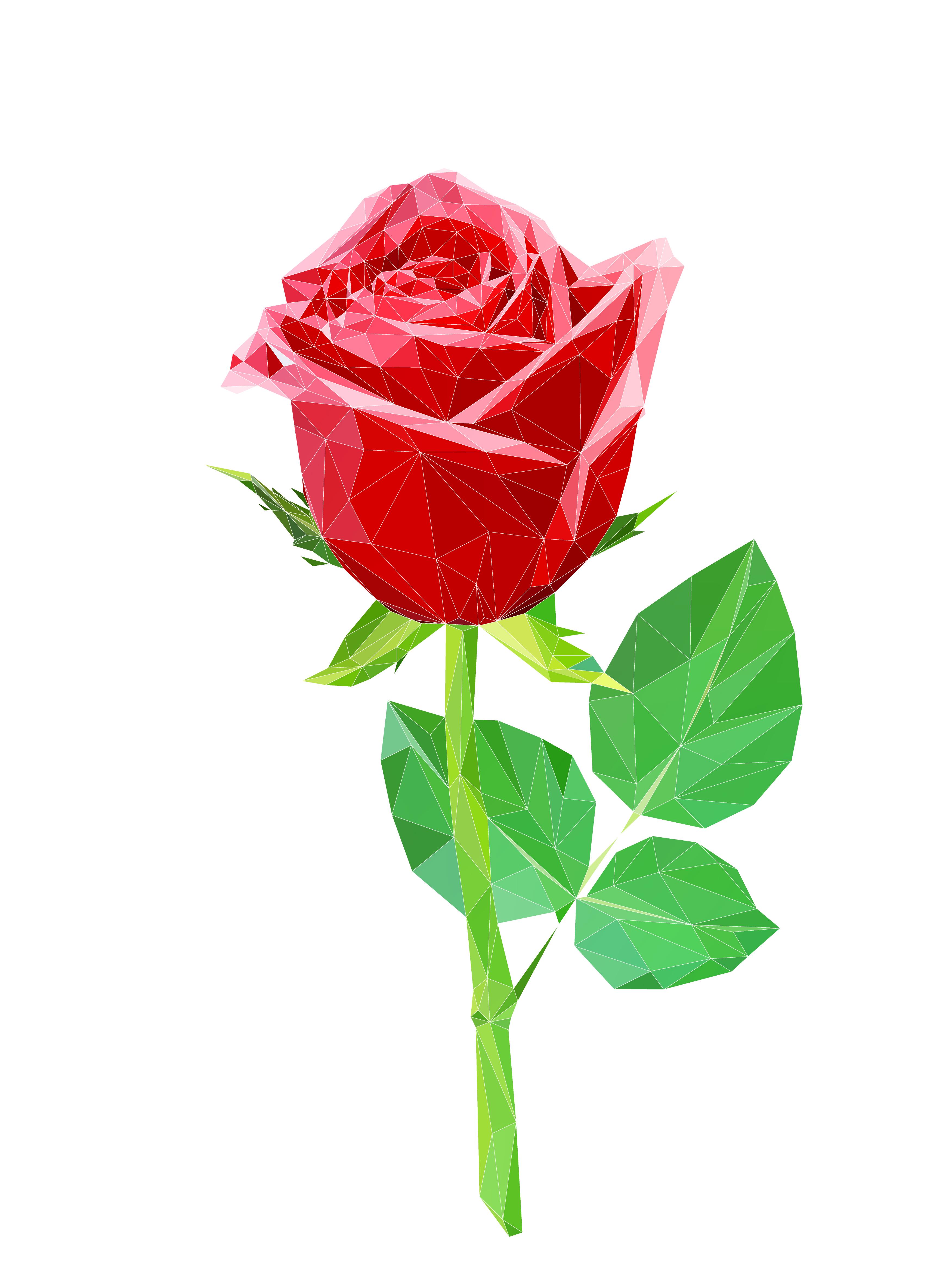 Red Polygon Rose