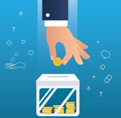 Hand, die Münzenkonzept von spenden hält vektor