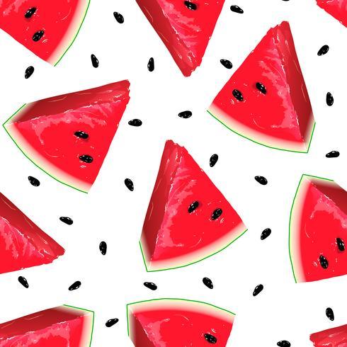 Stukken van rode watermeloen op naadloze achtergrond.