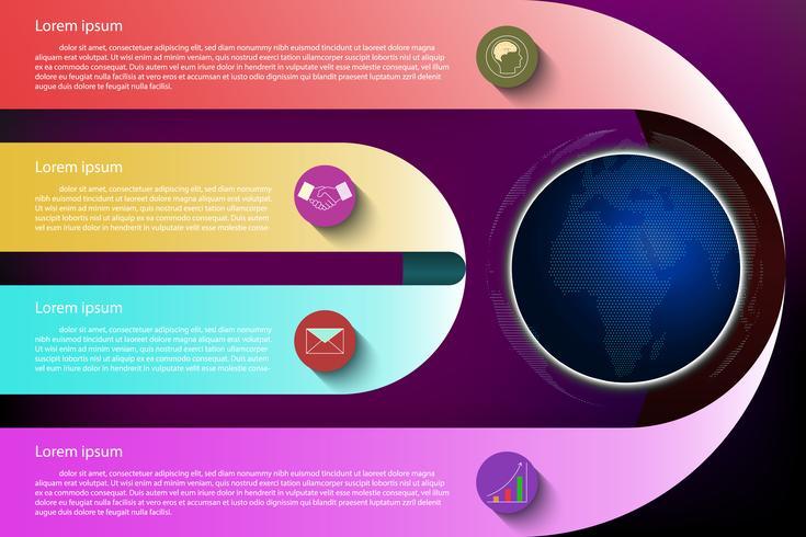 Infografica colorato su sfondo scuro. vettore