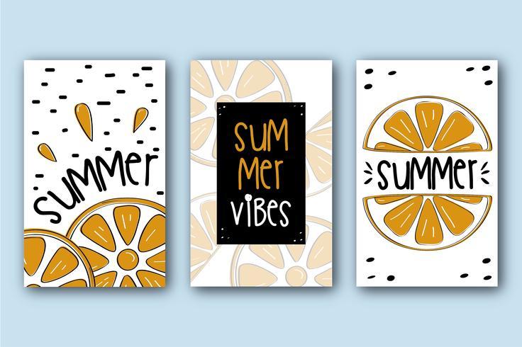 Collezione di carte estive con arance vettore