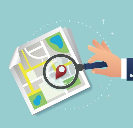 hand holding the magnifying glass and pin location icon and map vector, the concept of travel