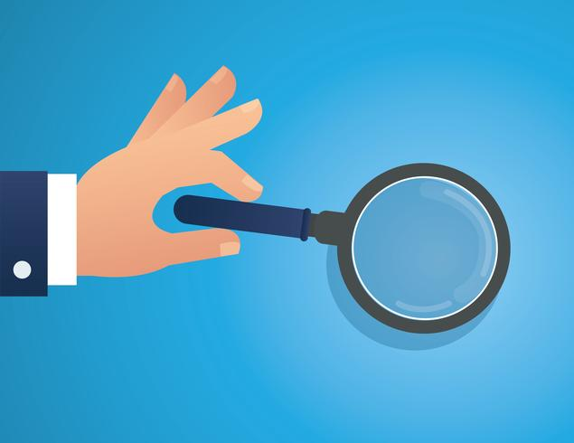 hand holding the magnifying glass vector illustration