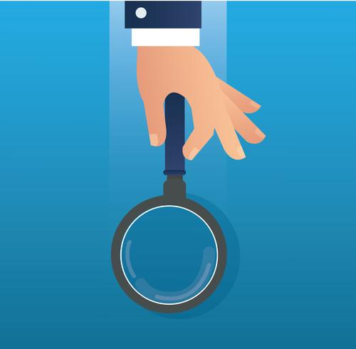 hand holding the magnifying glass  vector