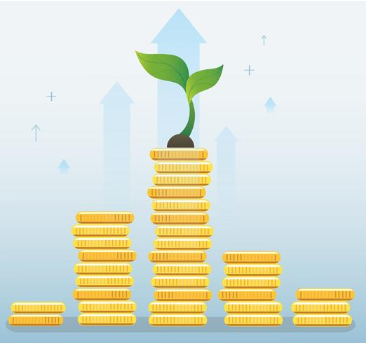 crescimento de planta no gráfico de moedas, ilustração em vetor conceito negócio inicialização