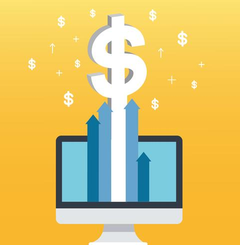 dollar pop up on screen computer and yellow background, successful business concept illustration vector
