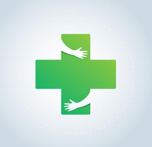 mains câlin dans la conception d'icône de l'hôpital, les soins de santé et vecteur de symbole logo médical