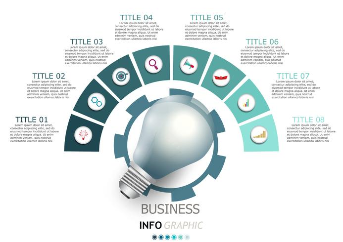 Infografía de vectores de diseño y comercialización de iconos.