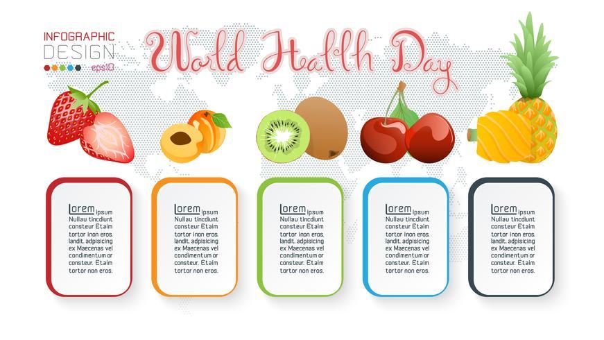 Raccolta di frutta per la giornata mondiale della salute. vettore