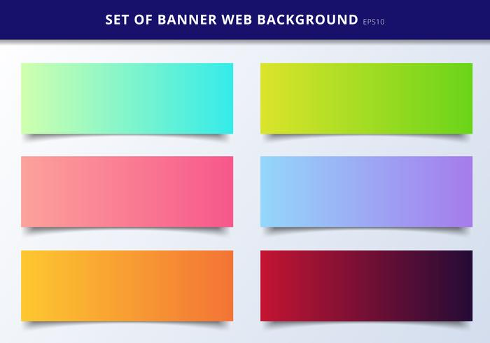 Conjunto de banner web modelo cabeçalho design vibrante gradiente de fundo.