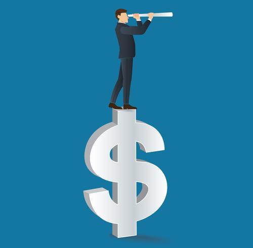 uomo d'affari guarda attraverso un telescopio in piedi sull'icona del dollaro