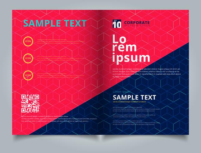 Template brochure layout design abstract cube pattern on dark blue background. Digital geometric lines square mesh. You can use for leaflet, flyer, annual report, print.