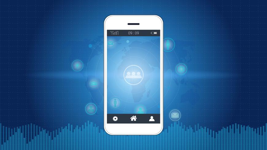 Écran de téléphone intelligent avec fond de connexion réseau global. vecteur