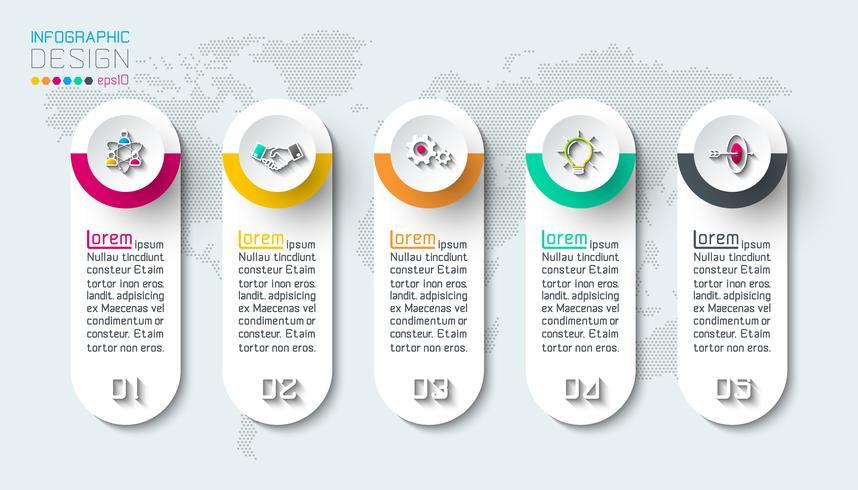 Business-Infografik mit 5 Schritten.