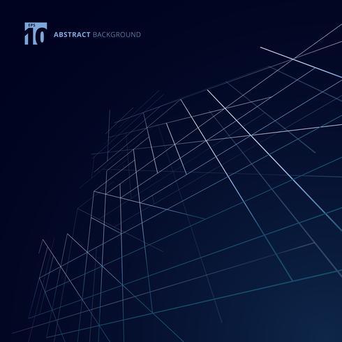 La dimensione astratta della struttura esteriore della costruzione allinea il colore d'argento su fondo blu scuro. Maglie quadrate in stile lusso moderno. Astrazione geometrica digitale con linea. vettore