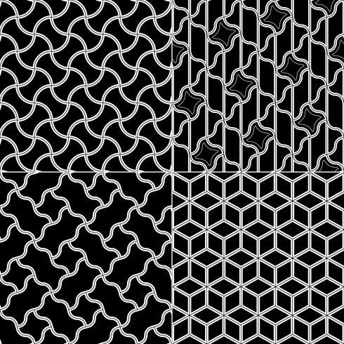 Vecteur série de motifs géométriques sans soudure, texture noir et blanc.
