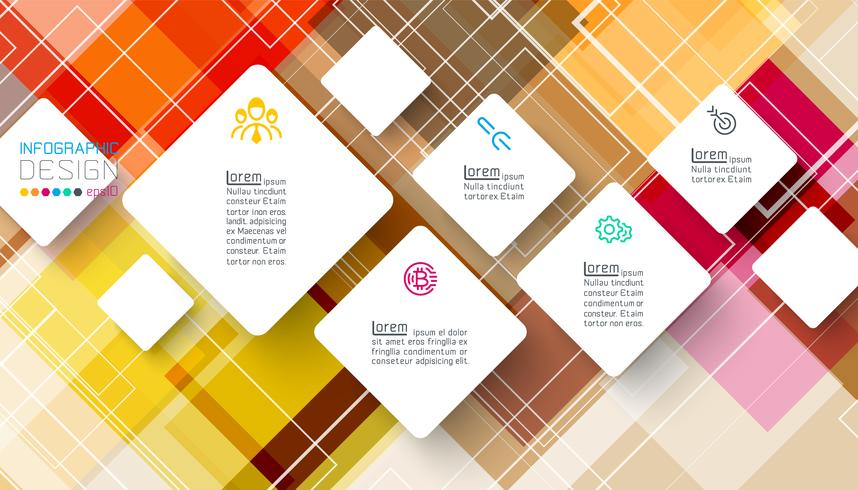 Square infographics on abstract background