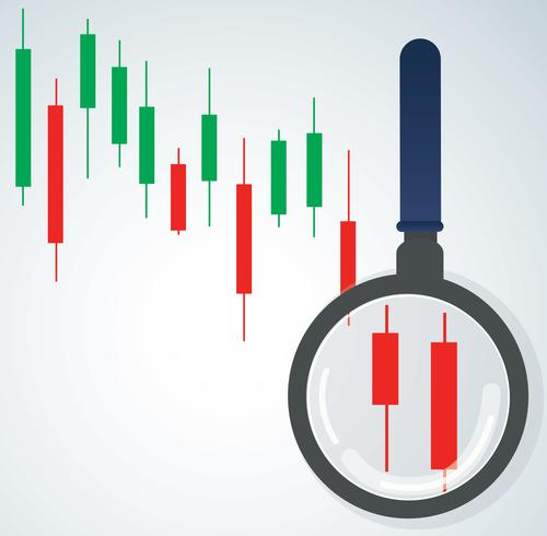 the magnifying glass and candlestick chart stock market background vector illustration