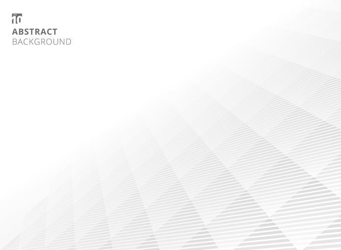 Fondo bianco e grigio astratto di prospettiva del modello della grata sottile. Stile moderno con traliccio monocromatico. Ripeti la griglia geometrica.