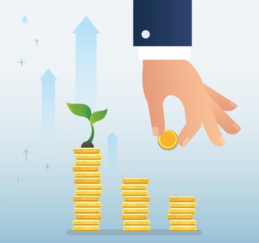mão segurando o crescimento de moeda e planta no gráfico de moedas, ilustração em vetor conceito inicialização empresarial