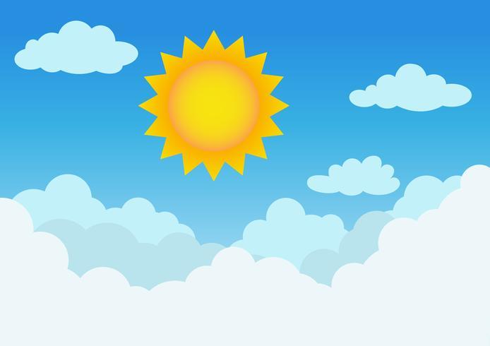 Soleado y nublado con fondo de cielo azul - ilustración vectorial