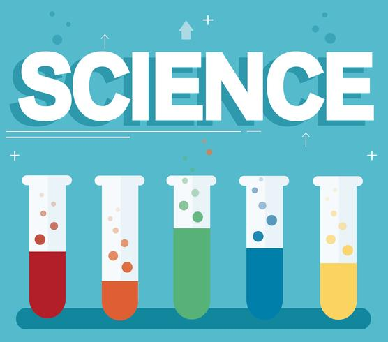 Science Laboratory Background Design: Science Text And Colorful Laboratory Filled With A Clear