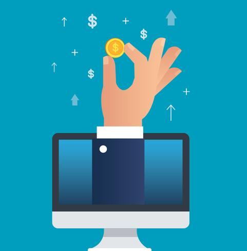 hand holding dollar coin through computer vector illustration, business concept