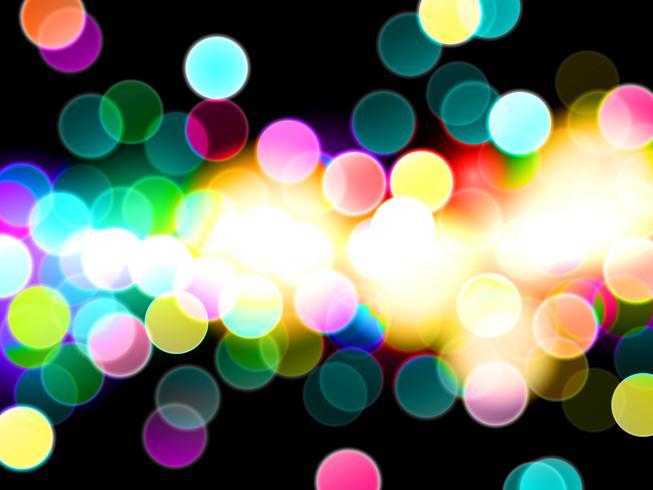 Efeito da luz colorido do bokeh com fundo do sumário do vetor da sala escura.