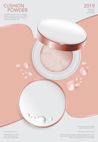 Maquillaje en polvo Cojín Cartel plantilla Vector Illustration