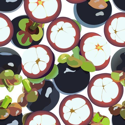 Mangosteen vector art seamless background.