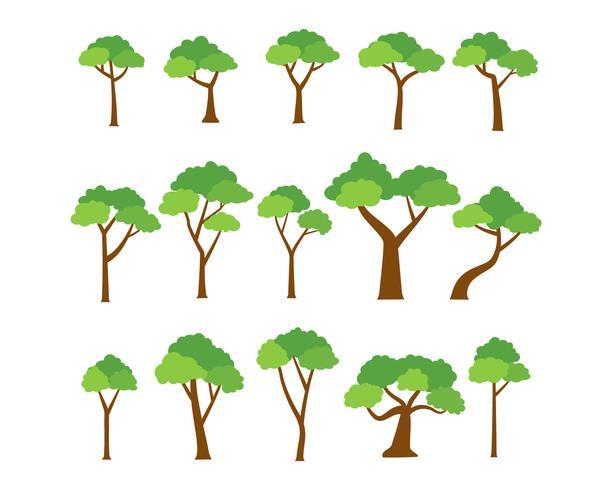 Samling av träd vektor på vit bakgrund