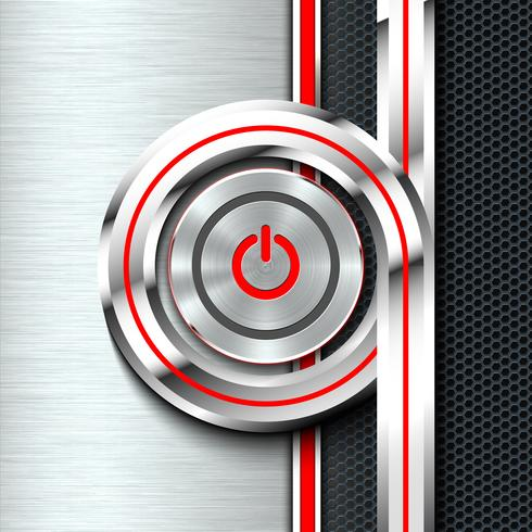 Pulsante di accensione e spegnimento sul foglio di materiale solido monocromatico. vettore