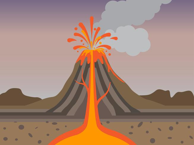 Cross Section of volcano eruption in nature - Vector illustration